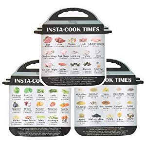 3 Pack Magnetic Cheat Sheet Compatible with Instant Pot Food Images Magnet Cooking Times Accessories for 45 Common Prep Functions (Small)