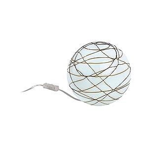 Paulmann Leuchten 66052 Living Giba - Lámpara de mesa (metal y cristal, 1 bombilla E14, 25 W, 230 V, 15 x 15 x 14 cm), diseño de bola, color blanco y marrón