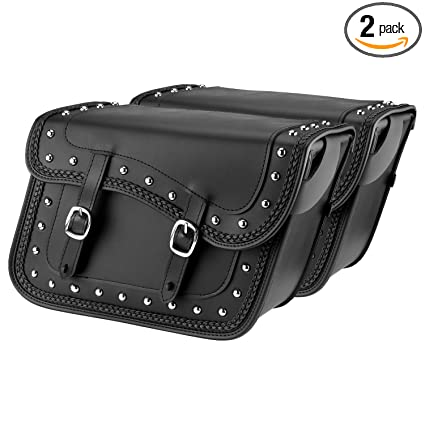 580b2f048f1b Amazon.com  Nomad USA Leather Slanted Motorcycle Saddlebags w Quick Release  Buckles (Braided   Studded)  Automotive