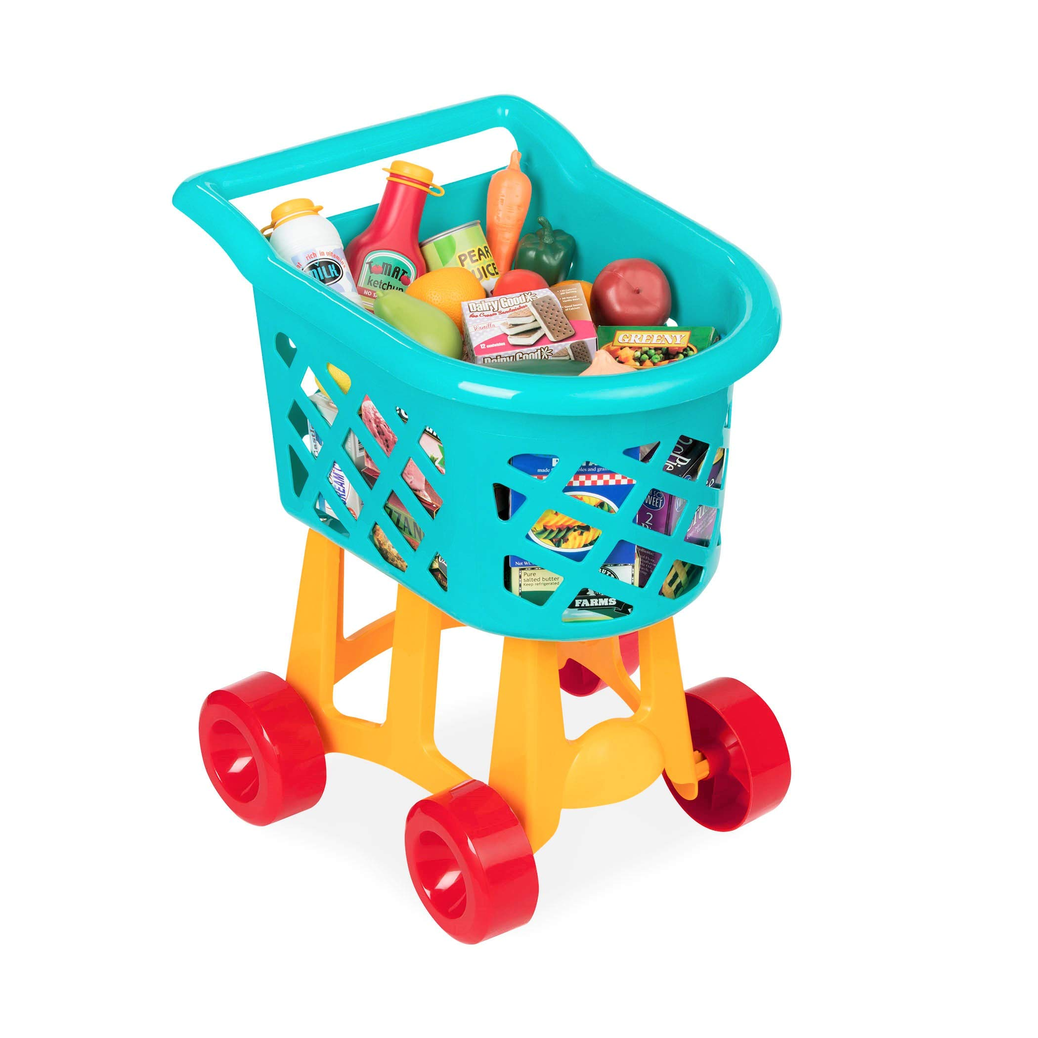 Battat Grocery Cart - Deluxe Toy Shopping Cart with Pretend Play Food Accessories for Kids 3+ (23Piece) by Battat