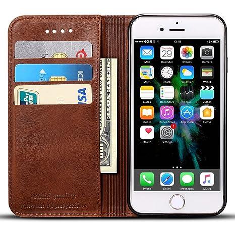 Apple iPhone 6 Plus/6s Plus Flip Case Hülle Leder Handy Hülle Tasche Schale mit 3 Kredit Karten Hülle Geldklammer mit Unsicht