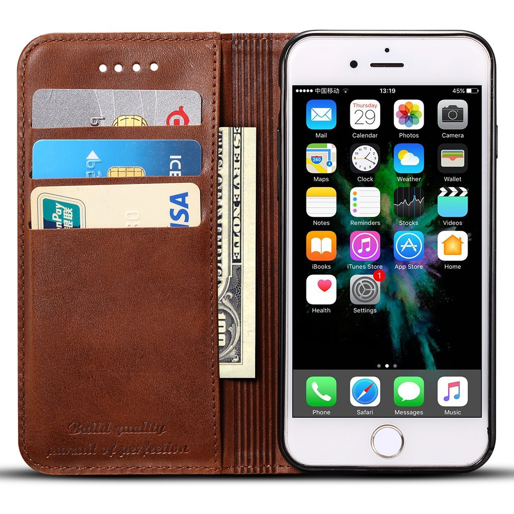 Phone Case Compatible Galaxy Note 9 Folio Book Style Leather Wallet Phone Case with Card Holder Kickstand Protective Flip Cover Brown