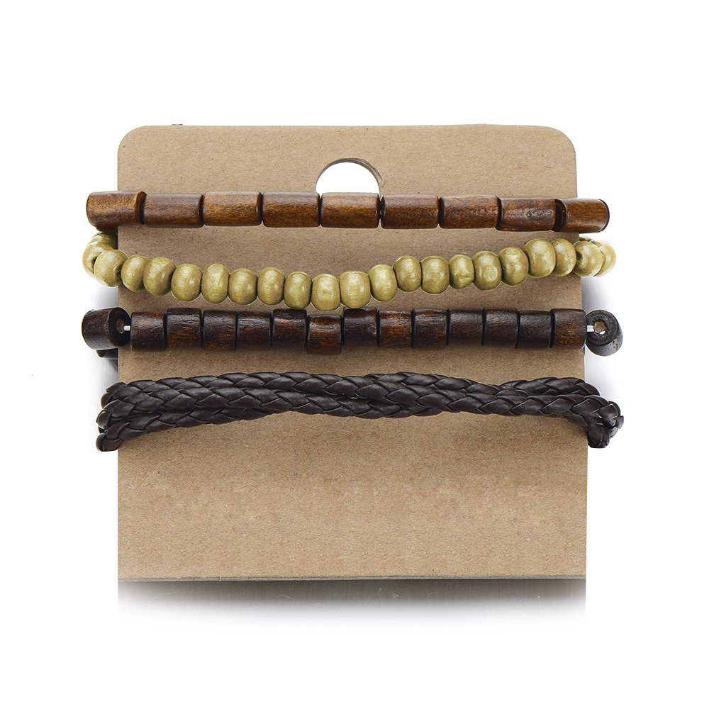 Mix of 4 Brown Wrap Bracelets for Men and Women, Multi-strand Wood Beads Leather Wristbands COOLSTEELANDBEYOND MB-823-CA