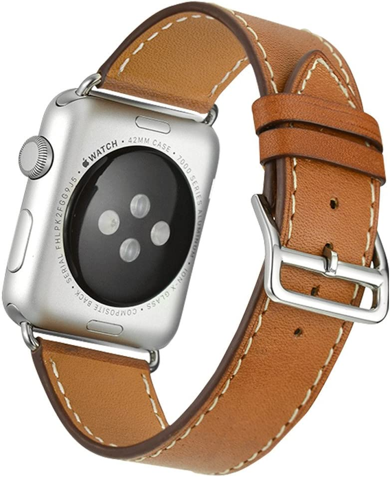 Valkit Bands Compatible with Apple Watch Band 38mm 40mm 42mm 44mm, Genuine Leather Strap Bracelet Replacement Wristband with Metal Adapter for Women Men iWatch SE 6 5 4 3 2 1, Single Tour - Brown