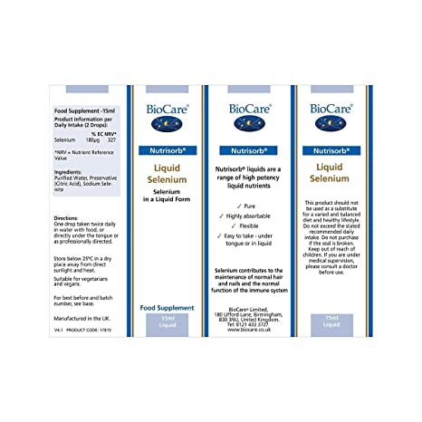 Biocare Nutrisorb Selenium, 15ml: Amazon.es: Salud y cuidado ...