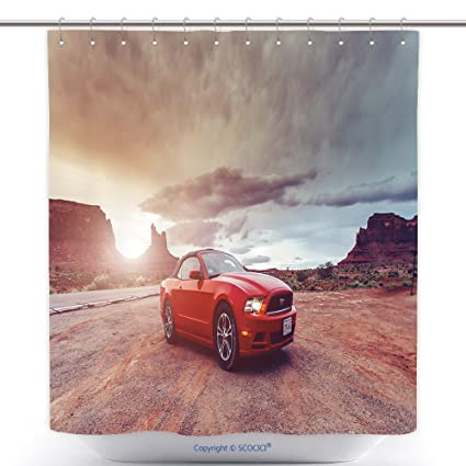 Vanfan Cool Shower Curtains Monument Valley Utah USA June Photo A Ford Mustang Convertible Version