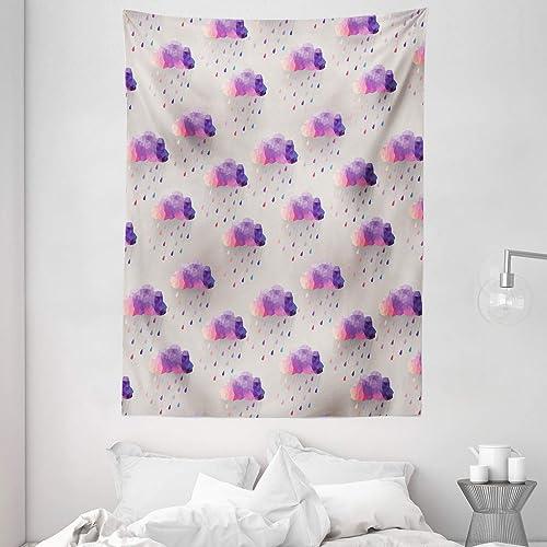 Ambesonne Geometric Tapestry, Retro Triangle Pattern Geometric Art Mosaic Rain Drops on Polka Dots Print, Wall Hanging for Bedroom Living Room Dorm, 60 X 80 , Purple Grey Pink