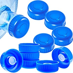 10 Pieces 5 Gallon Water Jug Cap Blue Gallon Water Bottle Screw Dew Cap Replacement Anti Splash Lids Water Bottle Caps for Gallon Bottles and Water Dispensers with Probes