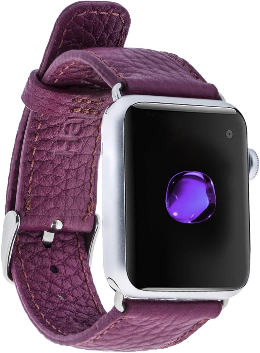 Hardiston | for Apple Watch Series 5-4 (40 mm) / 3-2-1 (38 mm) | Genuine Leather Handmade Rainbow Watch Band for Men/Women | (Floater Fuchsia/Silver)