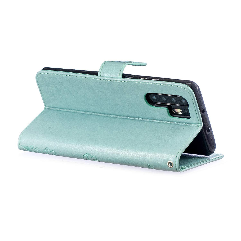 JAWSEU Compatible avec Huawei P30 Pro Portefeuille PU /Étui Glitter Paillette Brillant Pochette Cuir /à Rabat Housse de Protction Diamant Strass Flip Wallet Case avec Fleur Motif,Vert