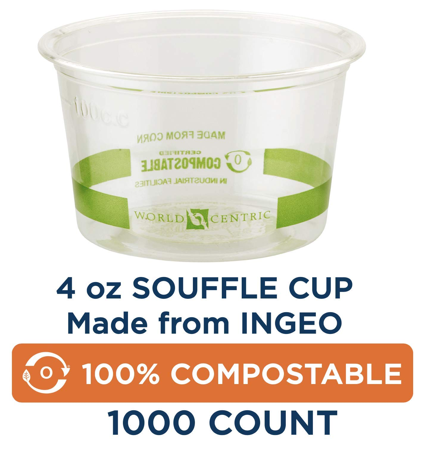 World Centric CP-CS-4S 100% Compostable Ingeo Souffle Cups, 4 oz., Clear (Pack of 1000) by World Centric
