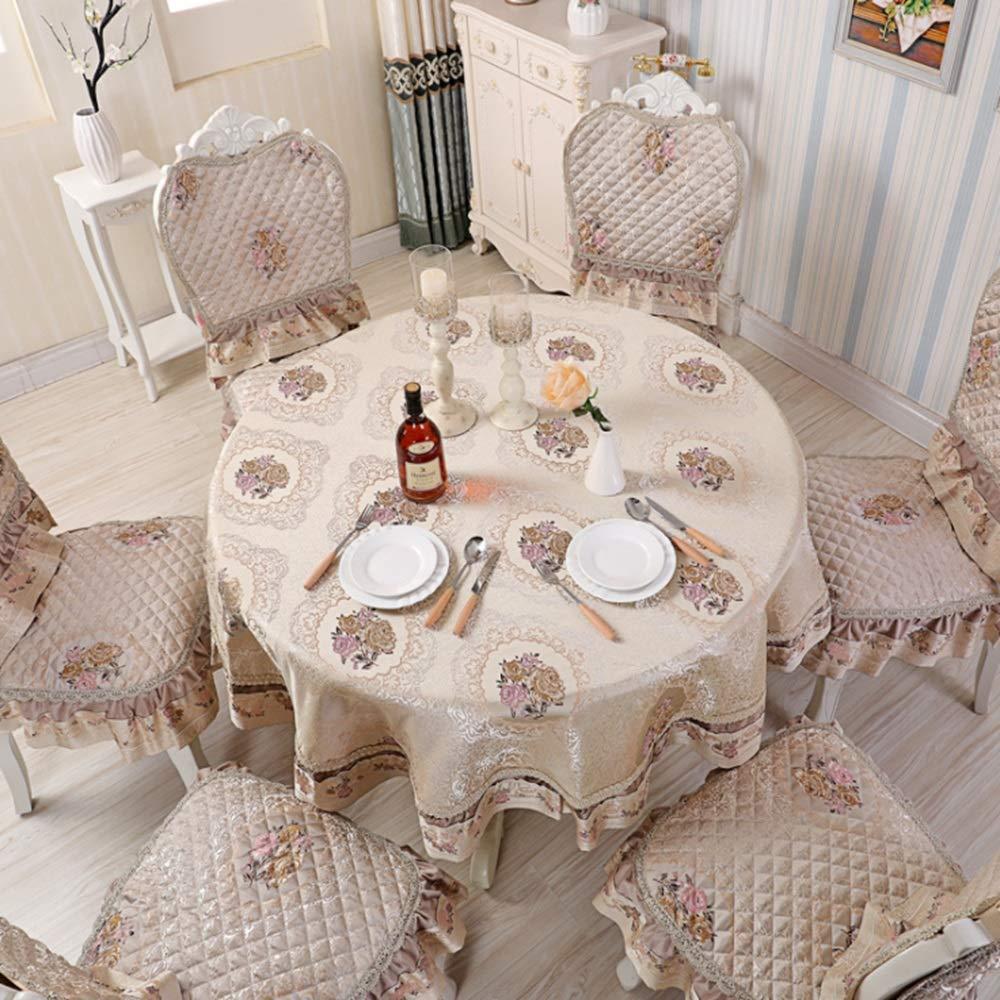 LilyAngel テーブルクロスシンプルなコットンラウンドテーブルクロステーブルクロス茶テーブルクロステーブルクロスの布アート多目的布の装飾ホームテーブルクロスは、家庭に適しています (色 : ベージュ, サイズ : 240*240cm) 240*240cm ベージュ B07SB3MSFX