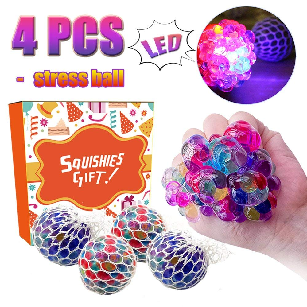 Mesh Stress Balls - Kidaily 4 Pack LED Light Up Squeeze Ball Soft Grape Ball Stress Relief Ball for Kids Adults Sensory Rubber Ball for ADHD Bad Habits Fidget Toys Holiday Birthday Gift