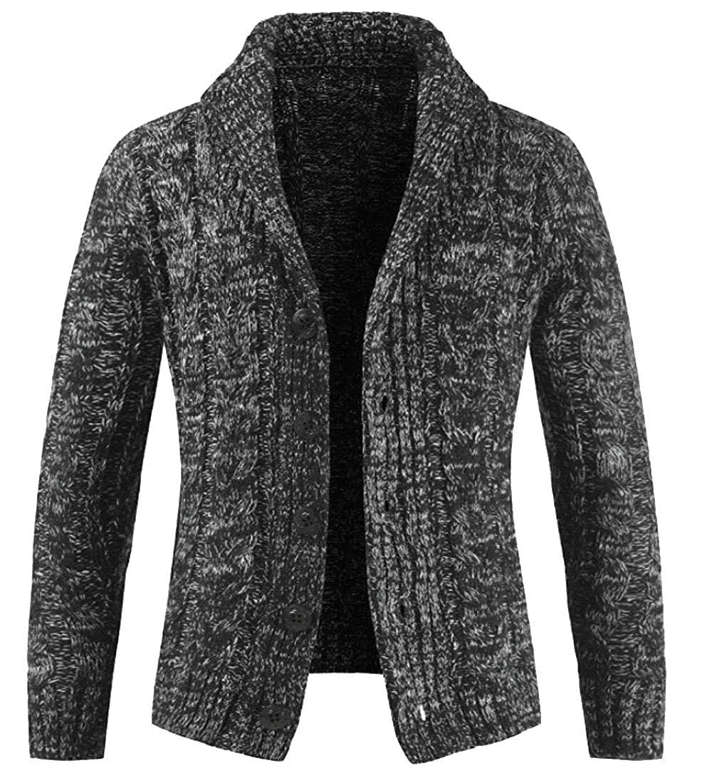 Domple Men Fashion Lapel Button Down Long Sleeve Knitted Sweater Cardigan