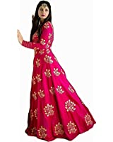 Dharmi Enterprise Pink Cotton Sillk Gown for Woman, Gown For Diwali Festiwal and Navatri Special