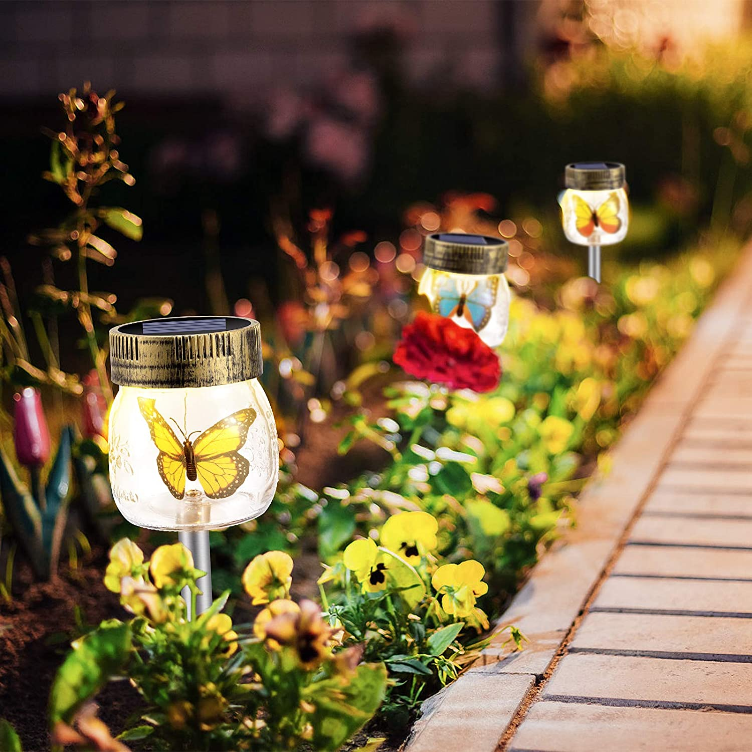 Solar Garden Lights Outdoor Decorative - 3 Pack Decorative Butterfly Glass Jar Lights for Pathway, Lawn, Yard (2021 Newest)