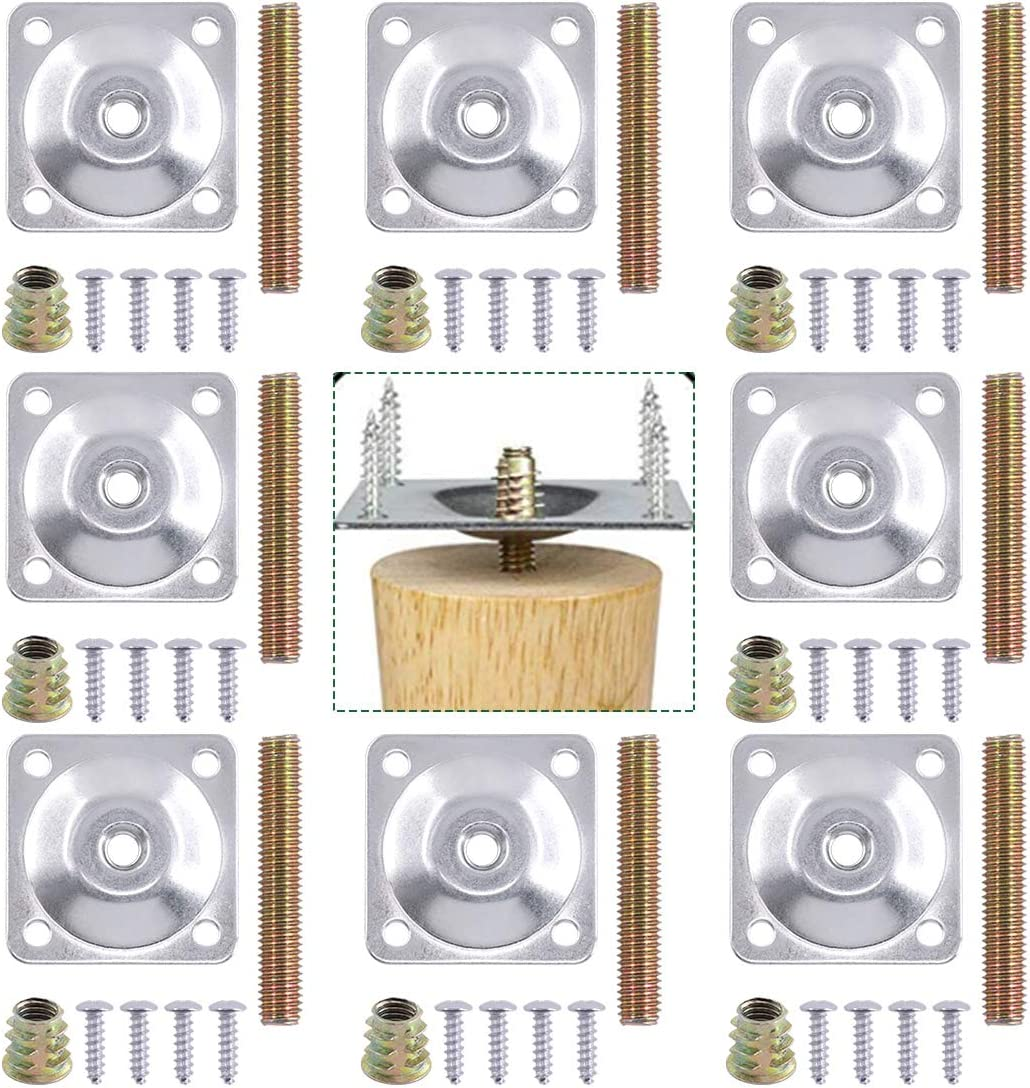 Keadic 8 Sets Furniture Leg Mounting Plates with Bolts Screws, Industrial Strength T-Plate M8 Sofa Legs, Perfect for Repairing Damaged Sofa Couch Seat