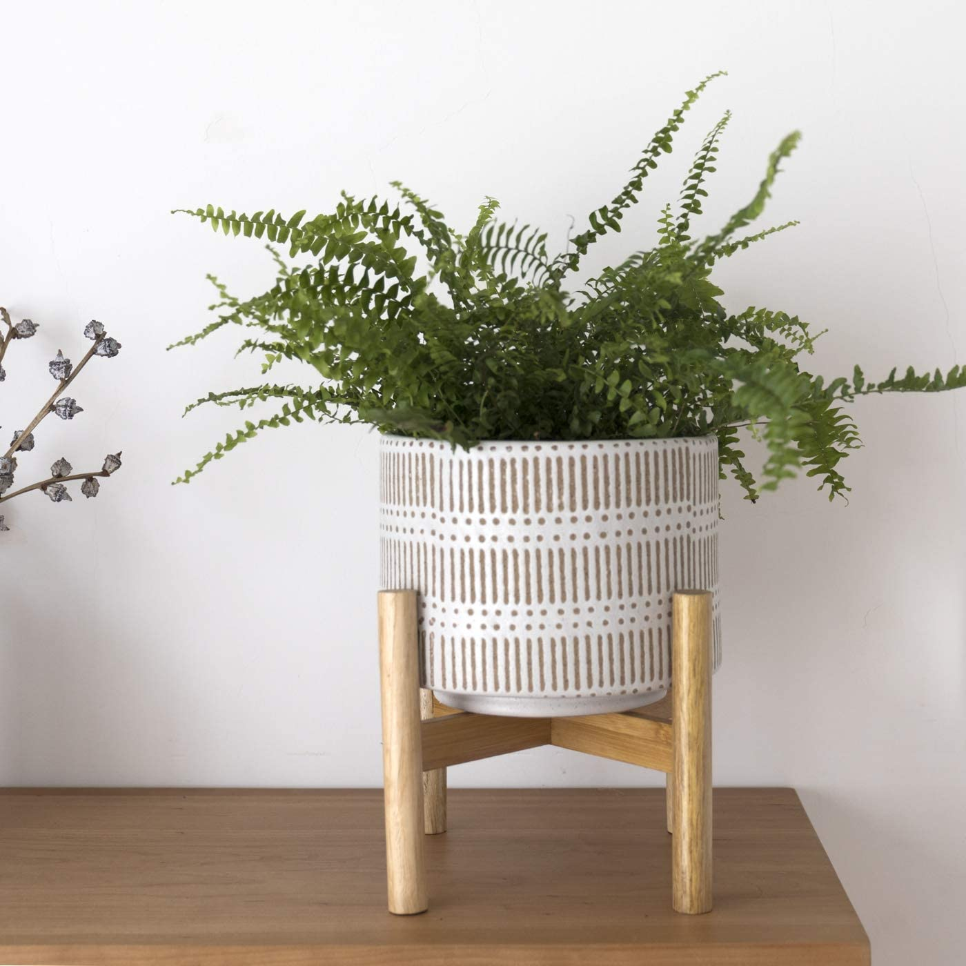 Ceramic Plant Pot with Wood Stand - 7.3 Inch Modern Round Decorative Flower Pot Indoor with Wood Planter Holder, Beige and White : Garden & Outdoor
