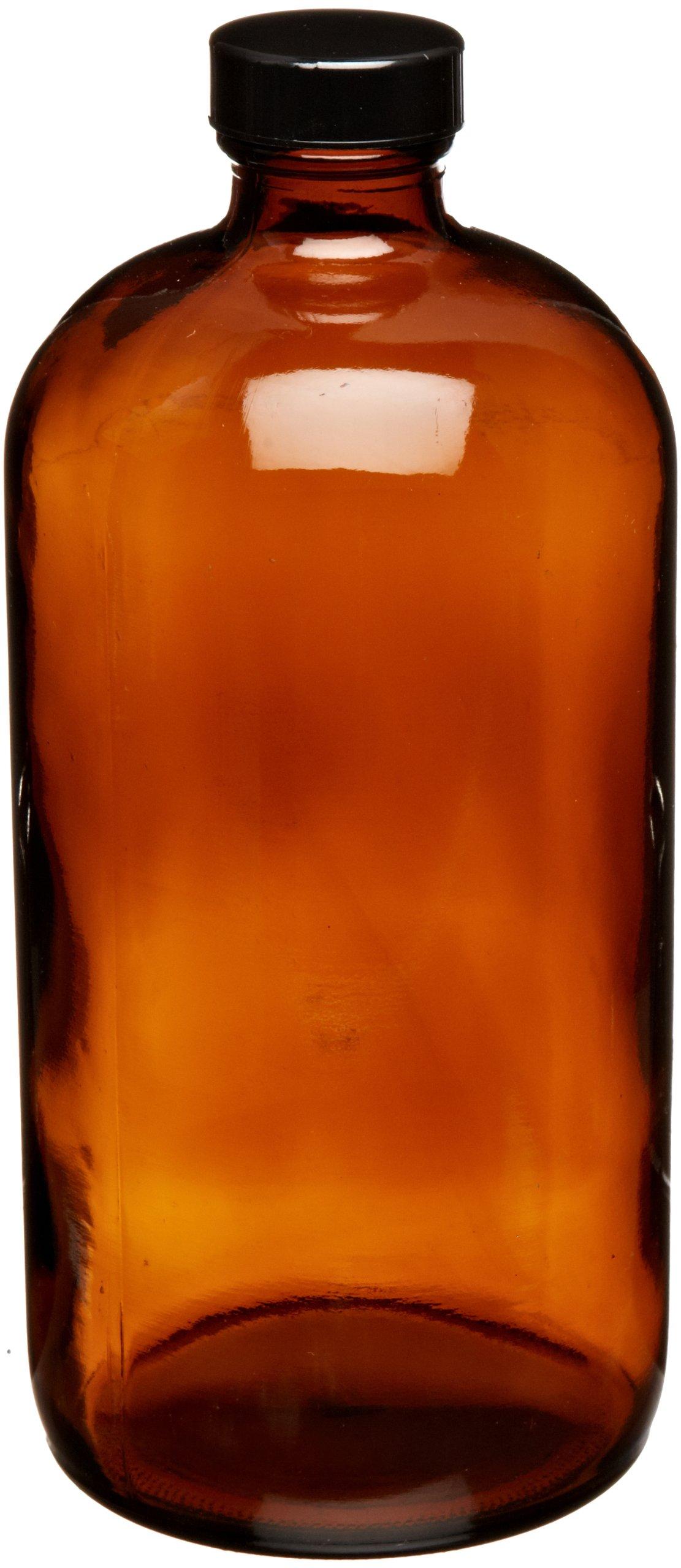 JG Finneran D0161-32 Amber Borosilicate Glass Standard Boston Round Bottle with Black Phenolic Closure, PE Cone Lined, 33-400mm Cap Size, 32oz Capacity (Pack of 12)