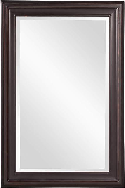 Howard Elliott George Rectangular Wood Framed Wall Vanity Mirror 53047 Rectangular Oil Rubbed Bronze Home Kitchen