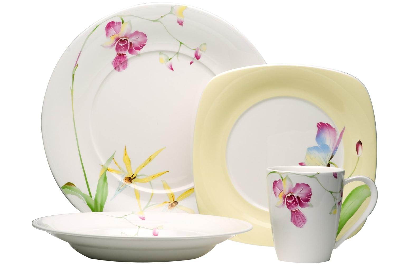 Amazon.com | Red Vanilla Leilani 16-Piece Dinnerware Set: Dinnerware ...