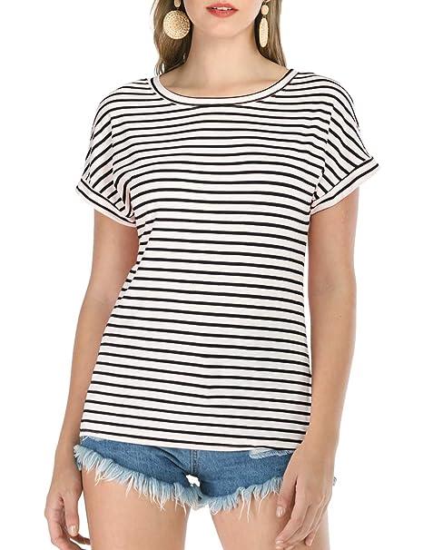 6aa9a3b0d7 Haola Women's Striped Tops Summer Casual Round Neck Short Sleeve Blouse T- Shirt Black Stripe