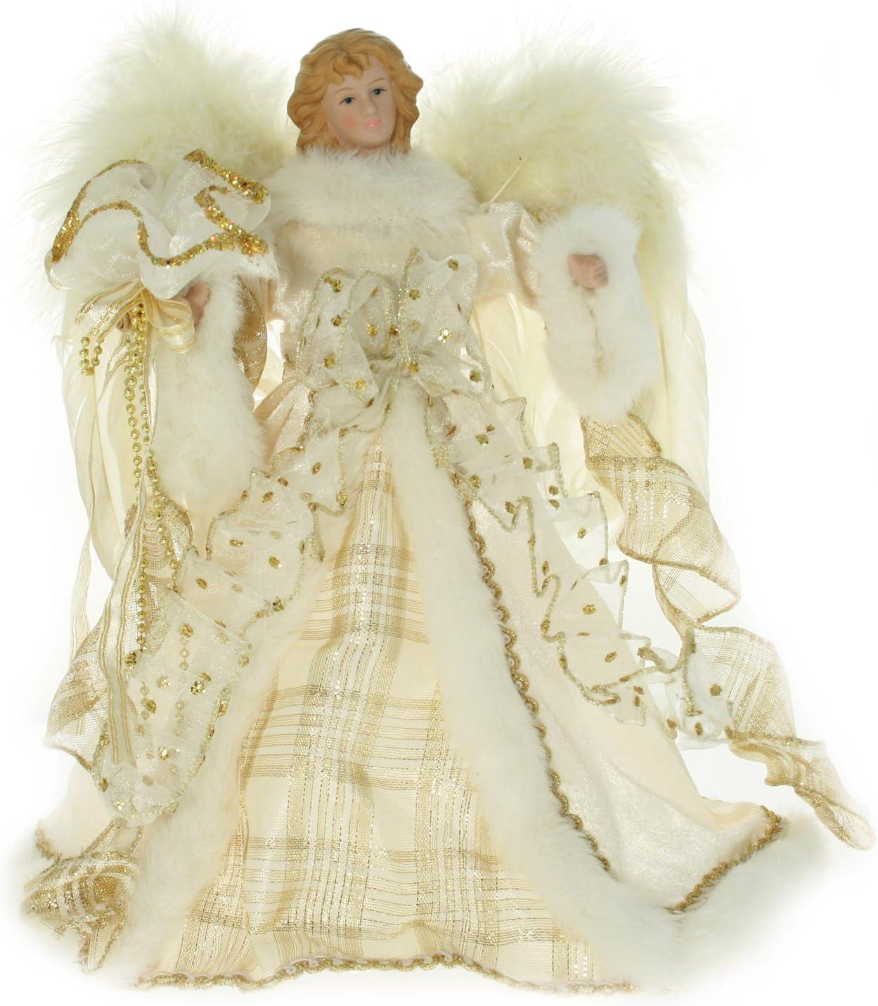 New Design 30cm Tree Top Angel Cream//Gold Christmas Decoration