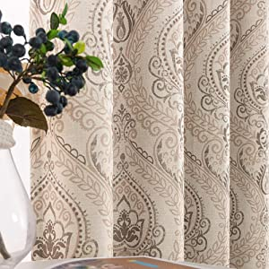 Linen Textured Curtains for Bedroom Damask Printed Drapes Vintage Linen Look Medallion Curtain Panels Window Treatments Room Darkening for Living Room Patio Door 1 Pair 63 Inches Long Taupe