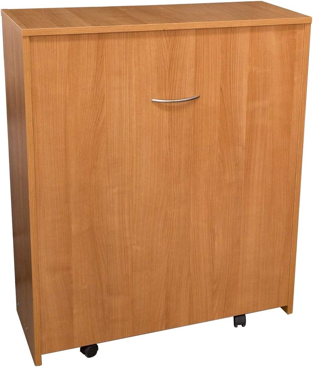 Mueble con cama plegable, abatible, de color madera, con somier y colchón