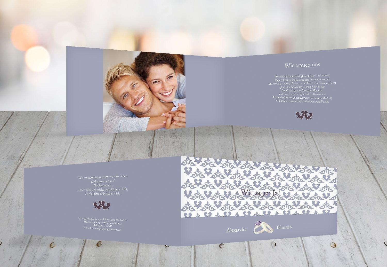 Kartenparadies Hochzeitskarte Einladung Ornament mit Herz, hochwertige Einladung zur Heirat inklusive Umschläge   10 Karten - (Format  215x105 mm) Farbe  Rosadunkellila B01N6T558L   Ausgezeichnet (in) Qualität    König der Quantität    Moderate Kos