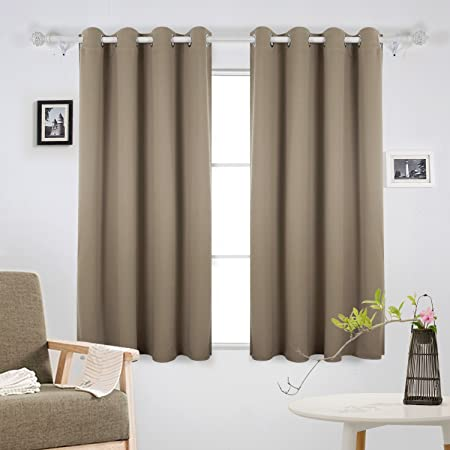 Deconovo Window Treatment Super Soft Bedroom Curtains Thermal Insulated Eyelet Blackout For Livingroom 52 X