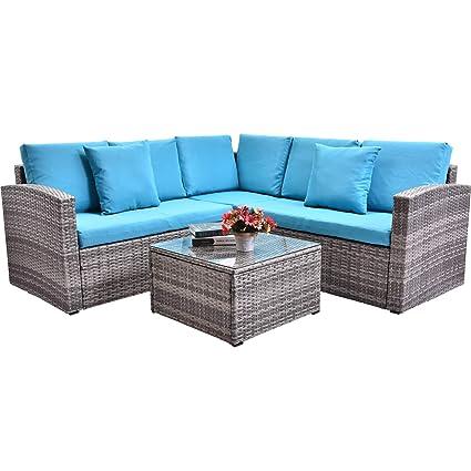 Amazon Com Flieks Leisure Zone 4 Piece Pe Rattan Sectional Sofa