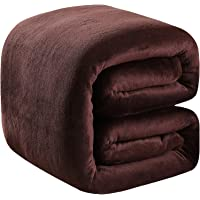 """Polar Fleece Blankets Twin Size Brown for The Bed Extra Soft Brush Fabric Super Warm Sofa Blanket 66"""" x 90""""(Chocolate…"""