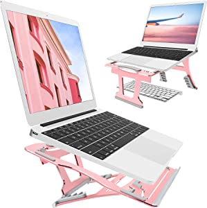 2 In 1 Laptop Stand, 9 Angles Adjustable, 3 Folding Modes. Portable Ergonomic Angled Laptop Aluminum Stand. Free from Install. For Laptop 10''~15.6'', Suitable for Long Time of Laptop Using(Rose Gold)