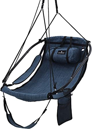 Songmics Hammock Chair Swing Chair Hanging Chair With Pillow Armrests And Footrest Metal Frame Adjustable Swing Chair With Drink Holder Storage Bag Load Capacity 160 Kg Dark Blue Gdc47in Amazon Co Uk Garden