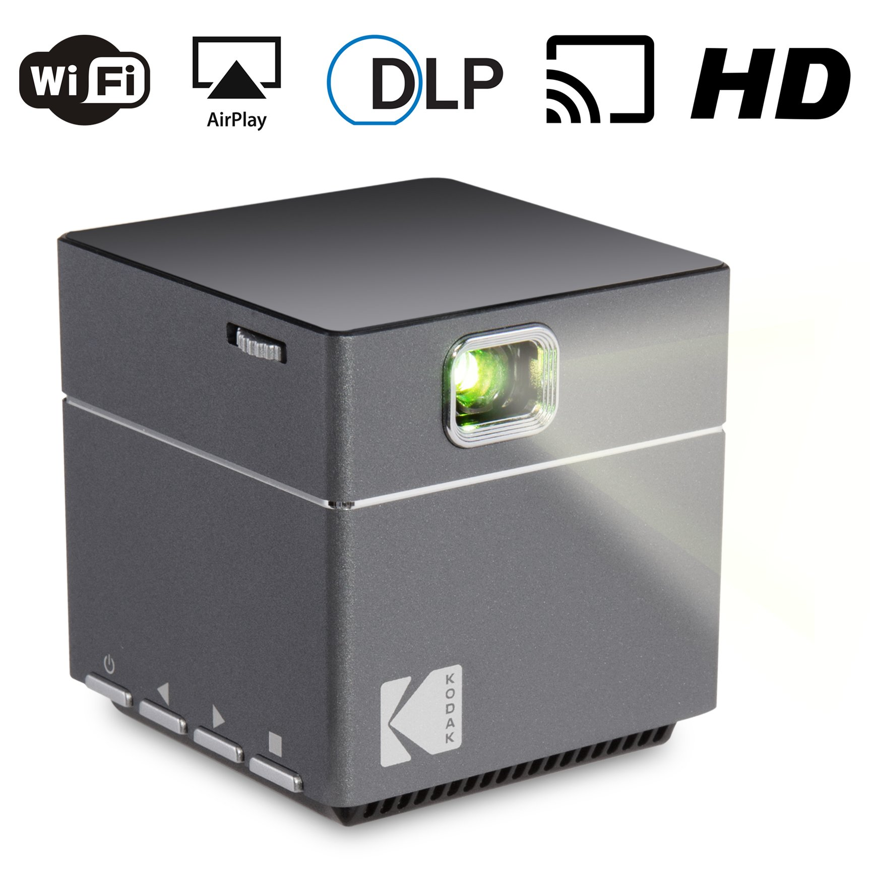 Kodak Wireless WiFi Portable Projector - DLP Pico LED 1080p HD Mini Projector - Supports Android Miracast, iOS Apple Airplay Phones and Devices - Rechargeable with Speakers – HDMI and Micro SD Card by Kodak