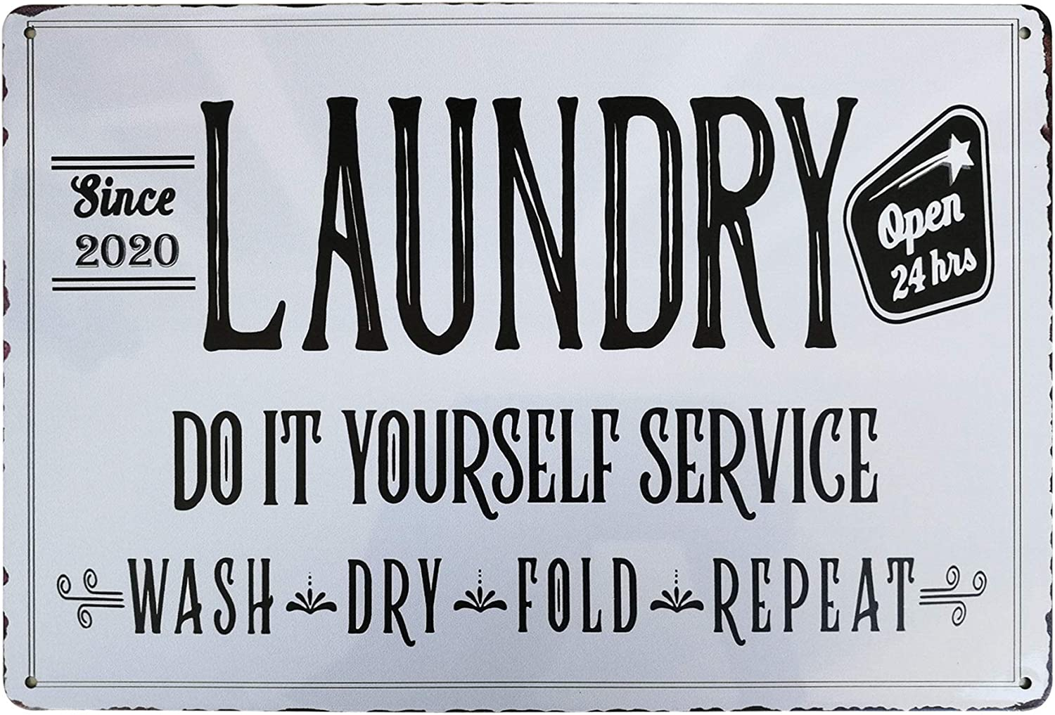PXIYOU Wash Dry Fold Repeat Laundry Room Decor Vintage Metal Sign Home Bathroom Decoration Wash Room Signs Country Home Decor 8X12Inch