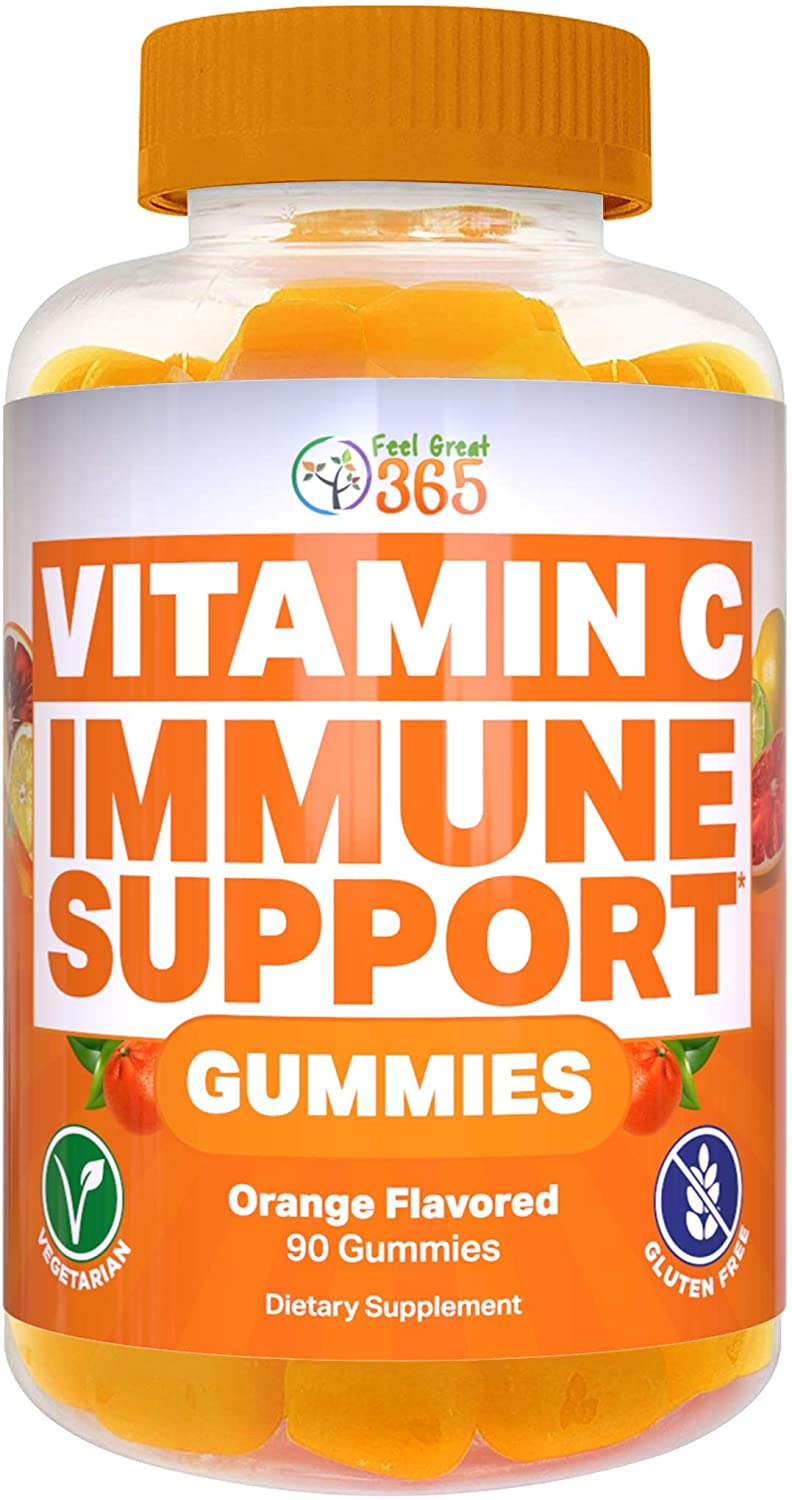 Vitamin C Gummies for Adults by Feel Great 365, 90 Orange Flavored Gummies - Immunity Support, Plant-Based, Gluten Free, Non GMO, Pectin Based