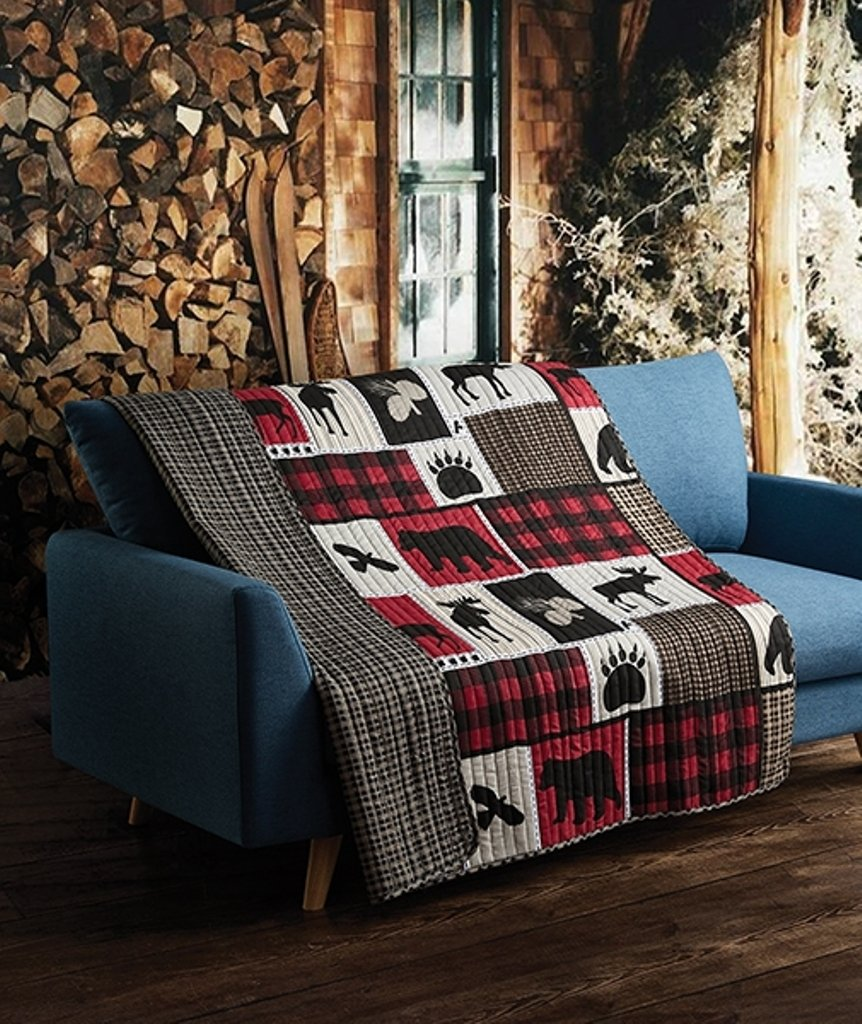 Quilted Throw, Black Bear Paw Moose Cabin Red Buffalo Check Plaid
