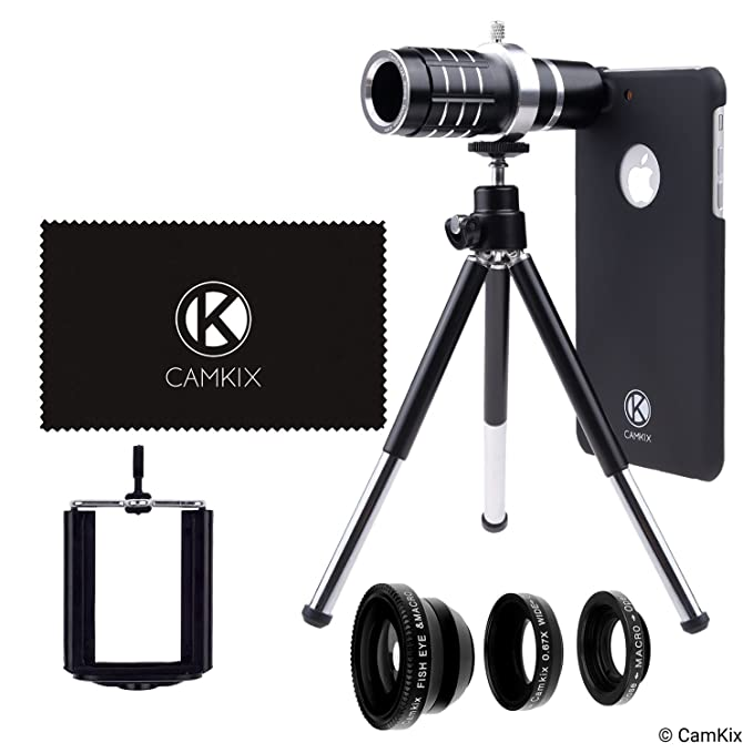 the latest 36124 d9b57 CamKix Lens Kit Compatible with Apple iPhone 8 Plus and iPhone 7 Plus - 12x  Telephoto Lens, Fisheye, Macro, Wide Angle Lens, Tripod, Phone Holder, ...
