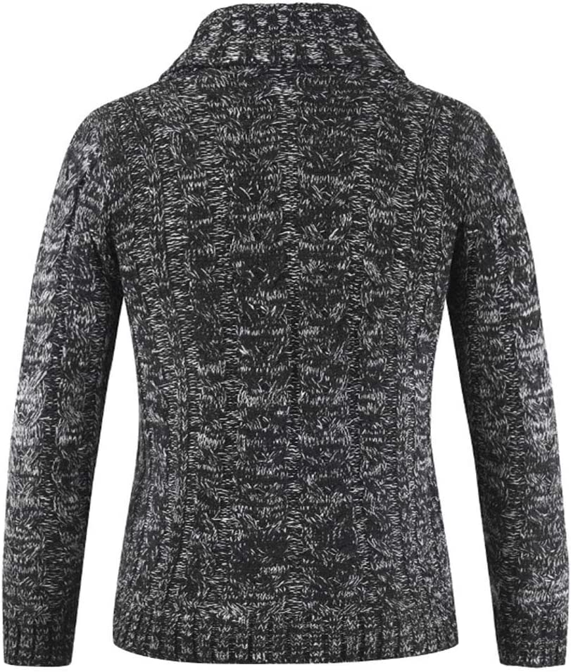 TGZZ Cardigan all\'Uncinetto Slim Fit Manica Lunga Collo Tinta Unita Invernale Uomo Dark Gray