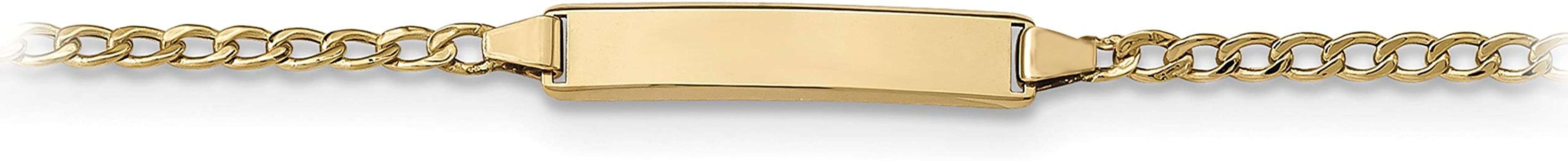 6 14k Yellow Gold Childrens Semi-Solid Figaro Personalized Link ID Bracelet
