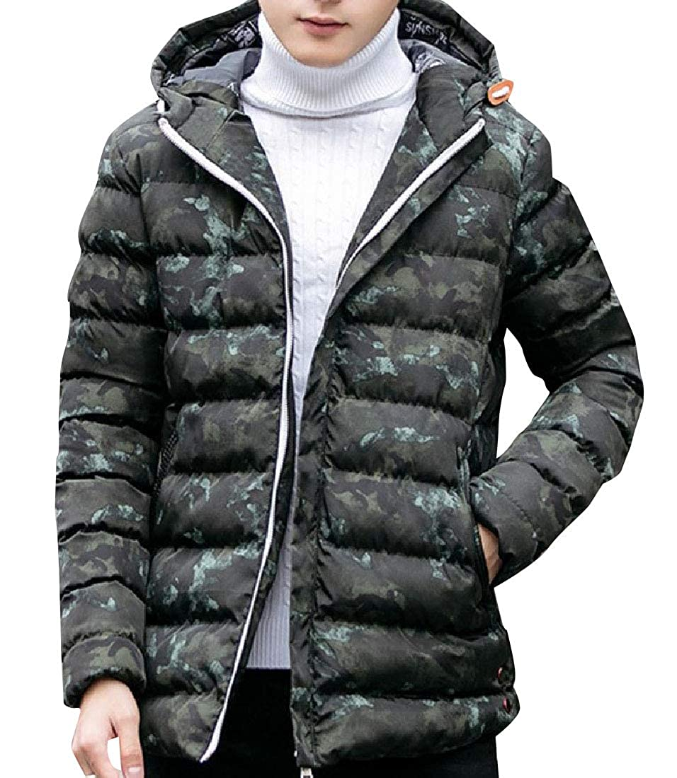 YUNY Mens Water-Resistant Chunky Zipper Puffy Jacket with Strings Green S