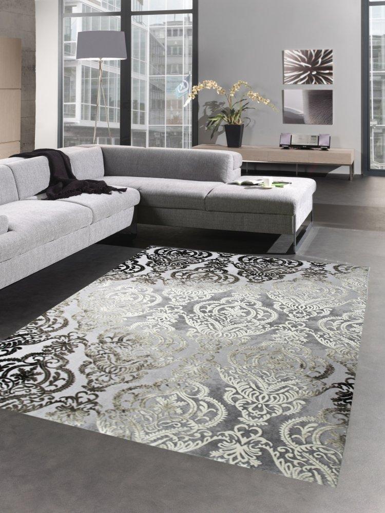 Carpetia Moderner Teppich Wohnzimmerteppich Barock Ornamente grau braun Größe 160x230 cm