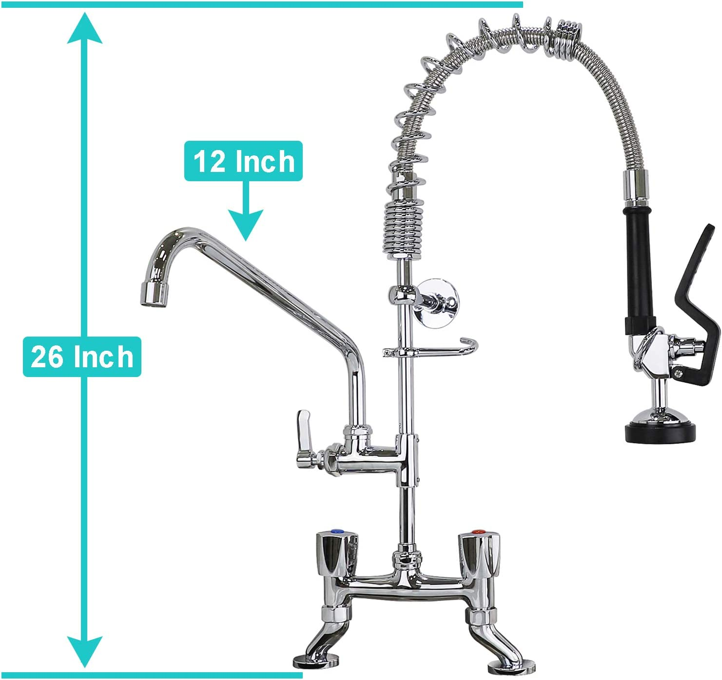 YooGyy 26/'/' Height 4-8 Inch Adjustable Center Deck Mount Commercial Kitchen Pre-Rinse Faucet with High Pressure Pull Down Pre Rinse Sprayer and Spout
