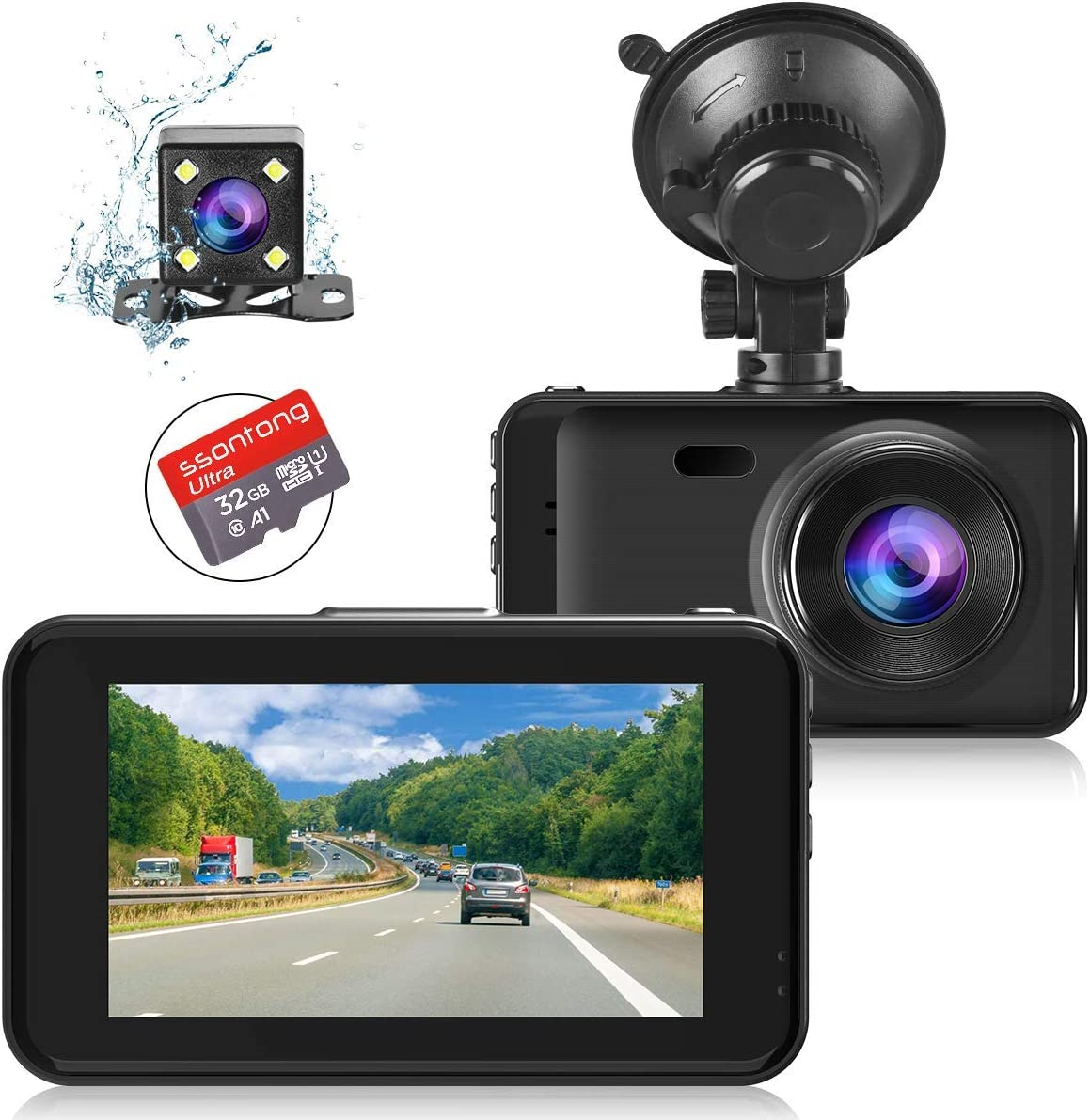 Dash Cam Front and Rear with 32GB SD Card, FHD 1080P Dash Camera for Cars 3 IPS Screen Dual Dash Cam with Night Vision, 170 Wide Angle Dashboard Camera WDR Motion Detection Parking Monitor G-Sensor