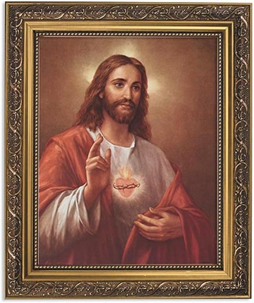 Gerffert Collection La Fuente Scared Heart of Jesus Framed Portrait Print, 13 Inch (Ornate Gold Tone Finish Frame)