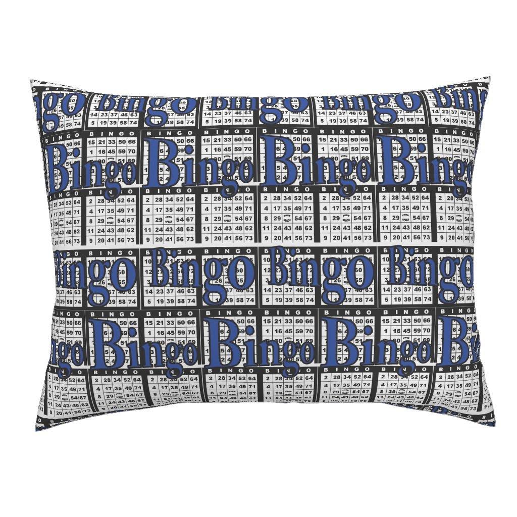 Roostery Bingo Euro Knife Edge Pillow Sham Bingo Black Paper with Bingo Text by Dd BAZ Natural Cotton Sateen Made