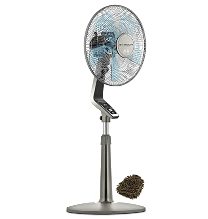 electronicsface silence control pedestal powerful stand silver with com speed oscillating remote inch fan quiet turbo and rowenta product