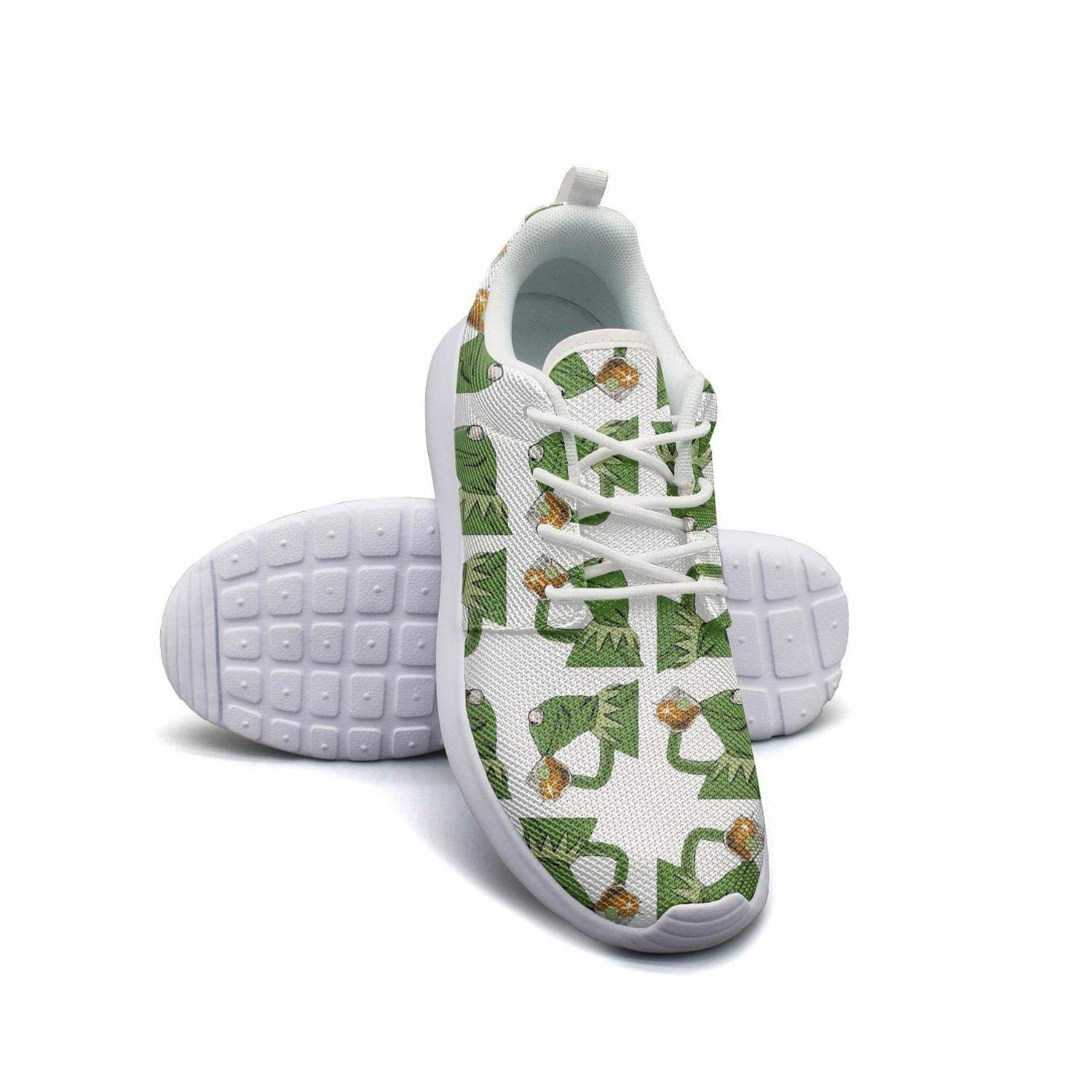 170c21a832f14 Amazon.com  Mens Roshe One Two Lightweight funny green frog sipping tea  Fashion Cross-Country Running Mesh Shoes  Clothing